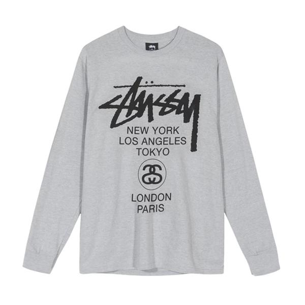 스투시 월드투어 롱슬리브 티셔츠 티셔츠 애쉬 헤더