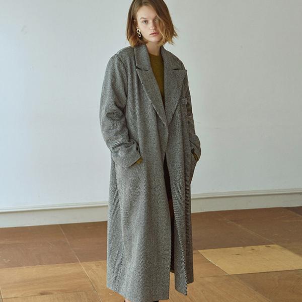 [DEANS] WOOL TWILL LONG COAT_BLACK