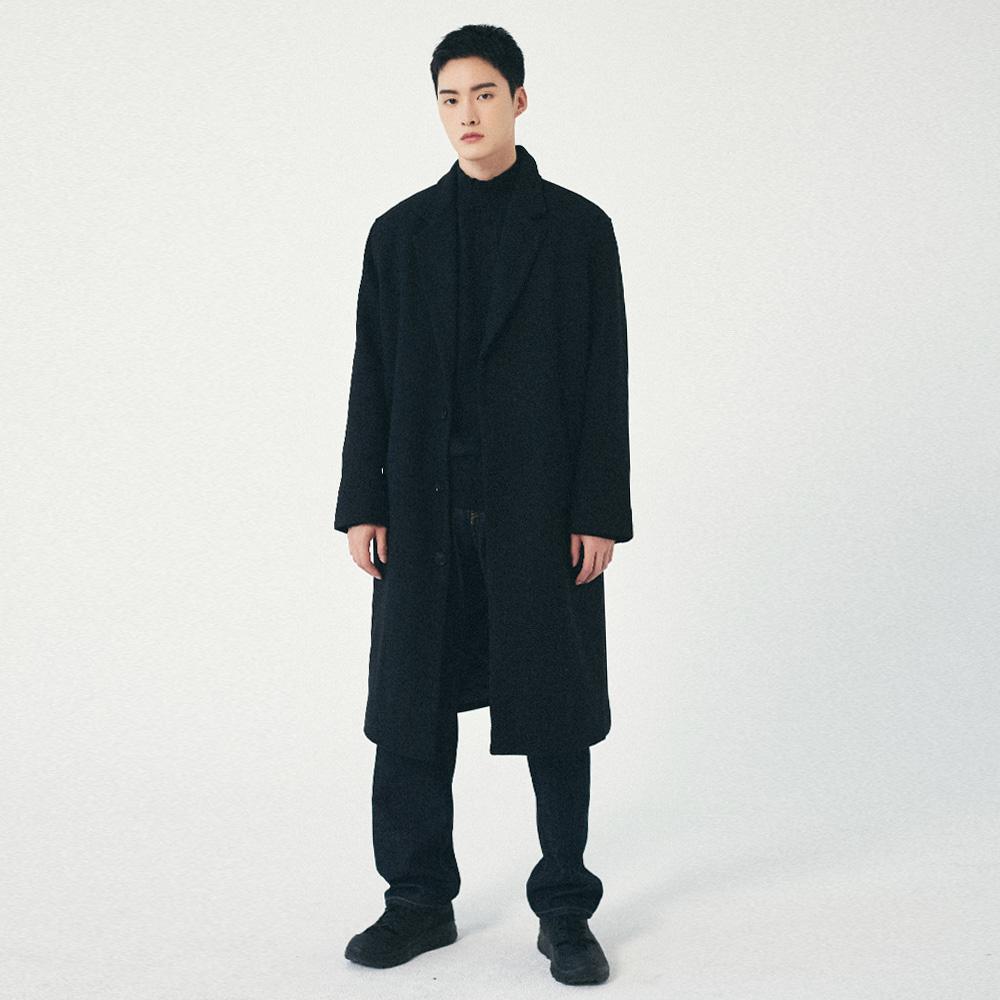 프로젝트624 (MEN) 세미오버 울 싱글 롱코트 블랙