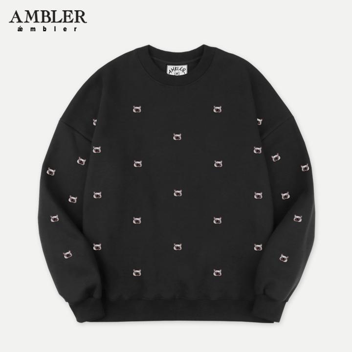 [엠블러]AMBLER 19FW 신상 자수 오버핏 맨투맨 티셔츠 AMM722-블랙 기모