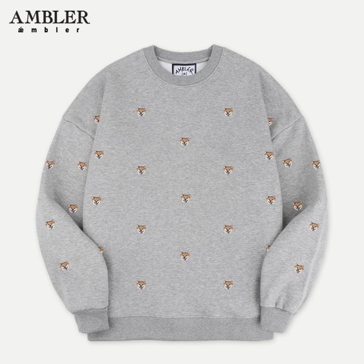 [엠블러]AMBLER 19FW 신상 자수 오버핏 맨투맨 티셔츠 AMM723-멜란지 기모