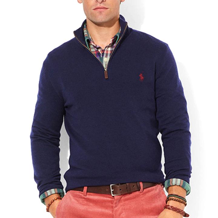 폴로랄프로렌 반집업 니트 스웨터 3158 027 네이비(버건디) POLO