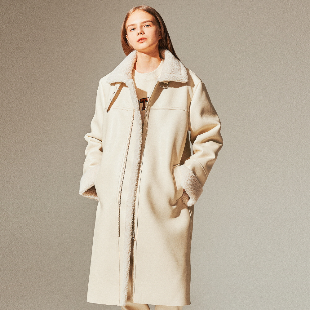 LEATHER FLEECE LONG MUSTANG COAT (IVORY)