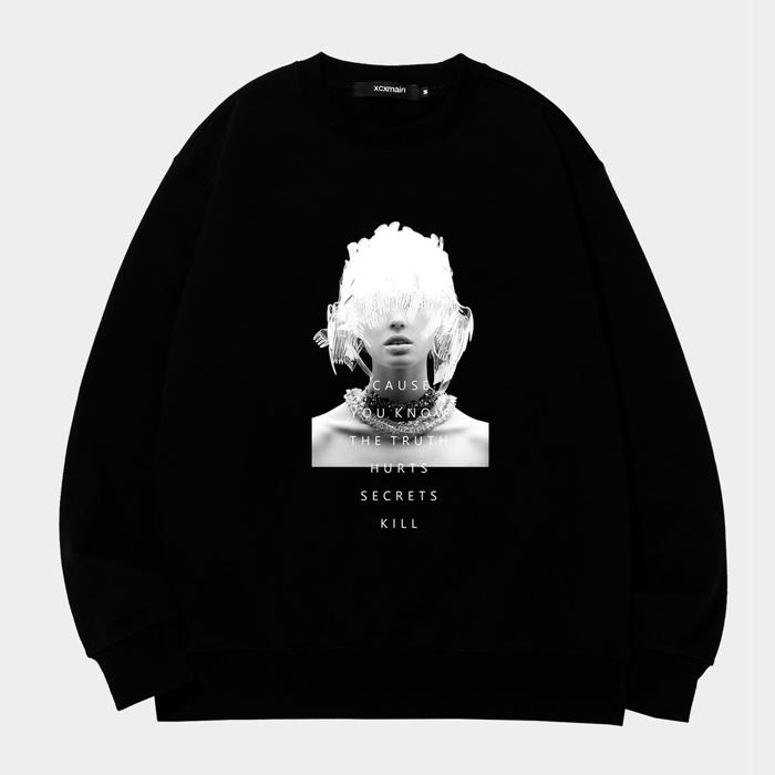 POKE HAIR 디지털프린팅 블랙 스웨트 셔츠 (챔피온 코튼)