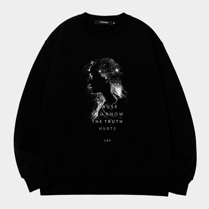 [마스크증정]GLITTER GIRL 디지털프린팅 블랙 스웨트 셔츠 (챔피온 코튼)