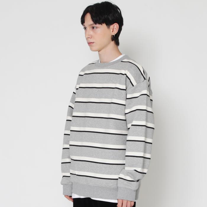 gray & black 프리미엄 3컬러 스트라이프 스웨트 셔츠 (기모)