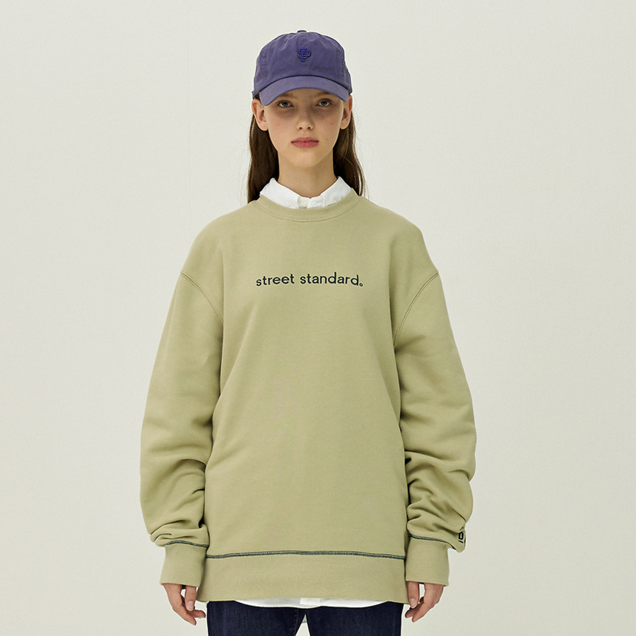 [입점세일]STREET STANDARD LOGO EMBROIDERY CREWNECK LIGHT KHAKI