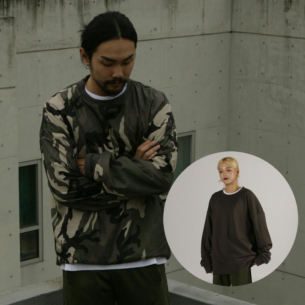 [자토] 오버핏 양면 맨투맨 - charcoal