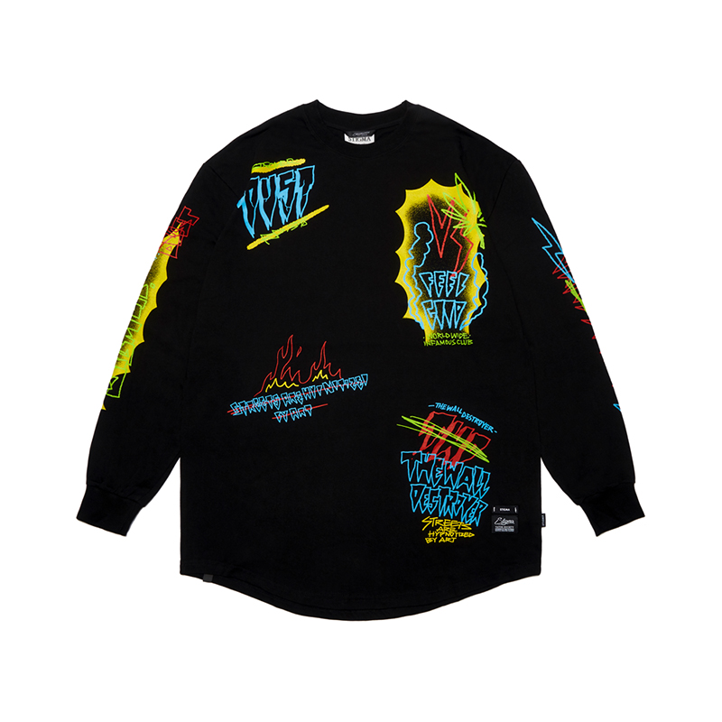 STIGMA SPECULAR LAYERED LONG SLEEVES T-SHIRTS BLACK