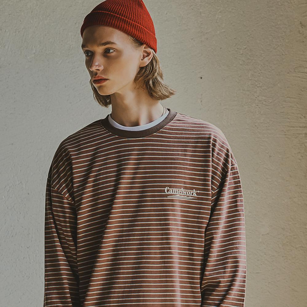 3 Way Stripe L/S T-Shirts(Brown)