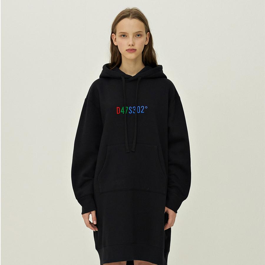 [입점세일]D47S302 EMBROIDERY SWEATSHIRTS DRESS BLACK
