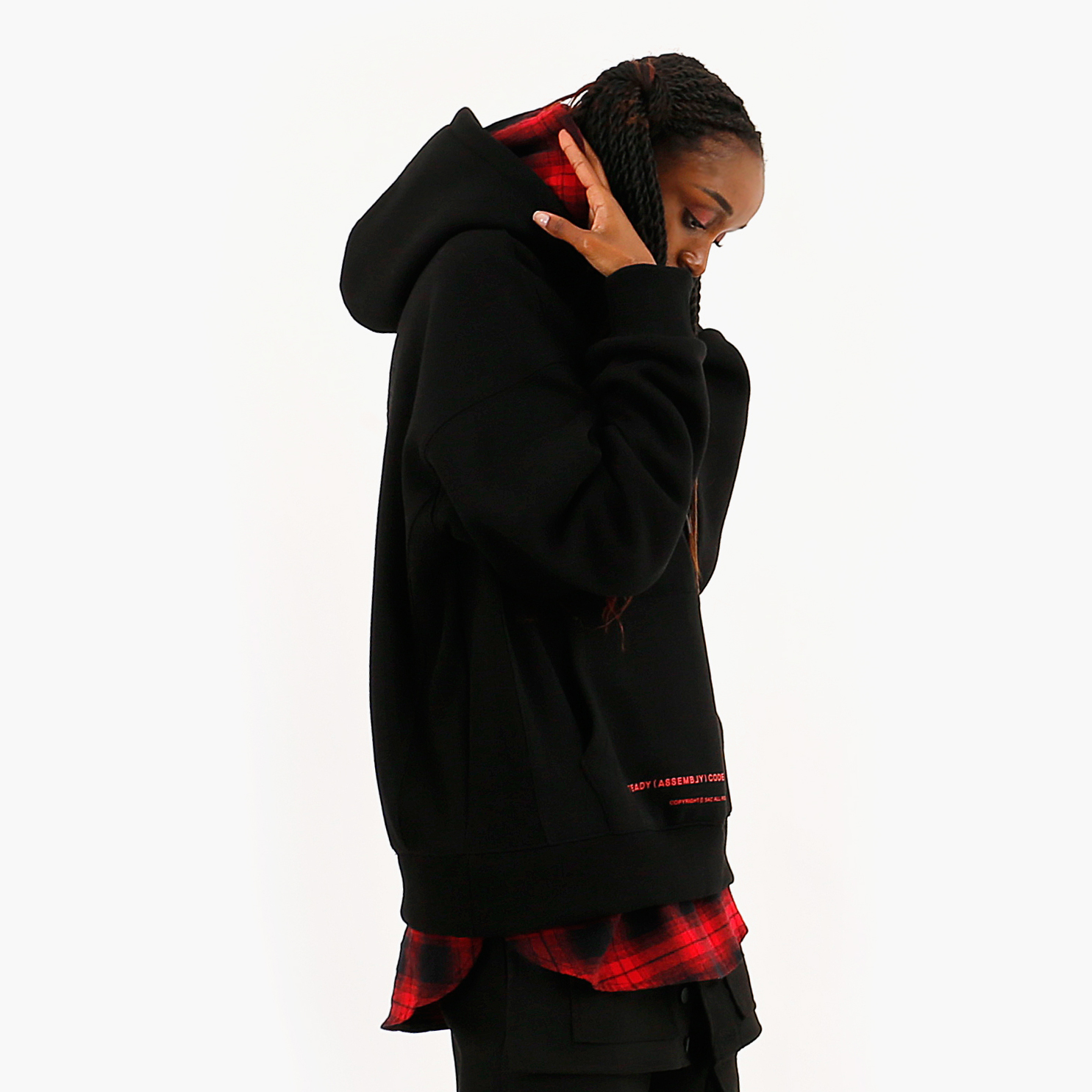 OMBRE LAYER HOOD PULLOVER BLACK