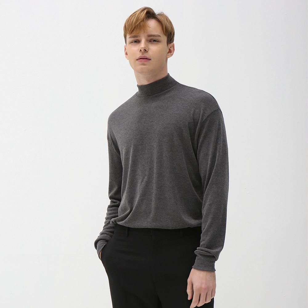 슬리브 하프 폴라 니트 티셔츠 차콜