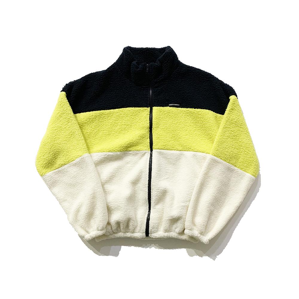 오버핏 보아 플리스 집업 재킷 라임