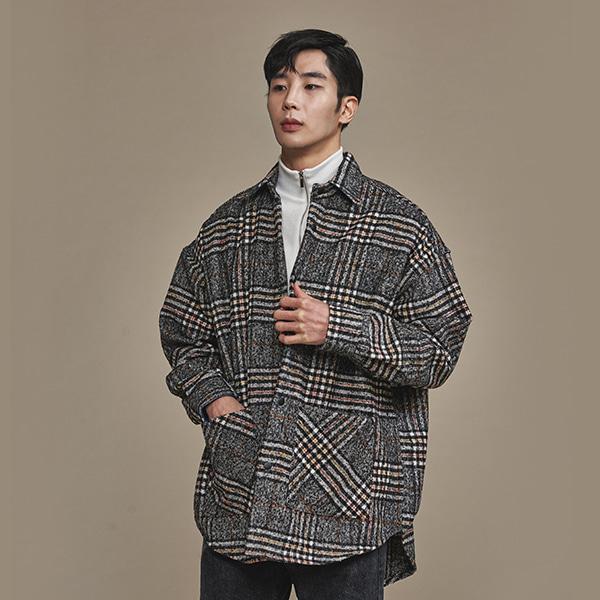 [올앤드]남성 오버핏 모직 버버리 체크 셔츠자켓_LMBSH4602-190