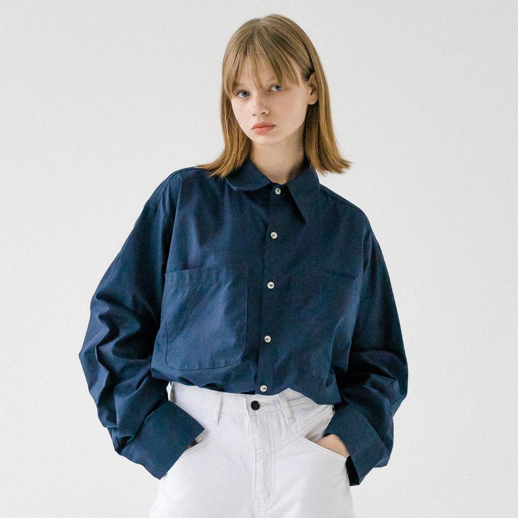 아더로브 유니섹스 더블포켓 베이직 셔츠 AST193001-NV