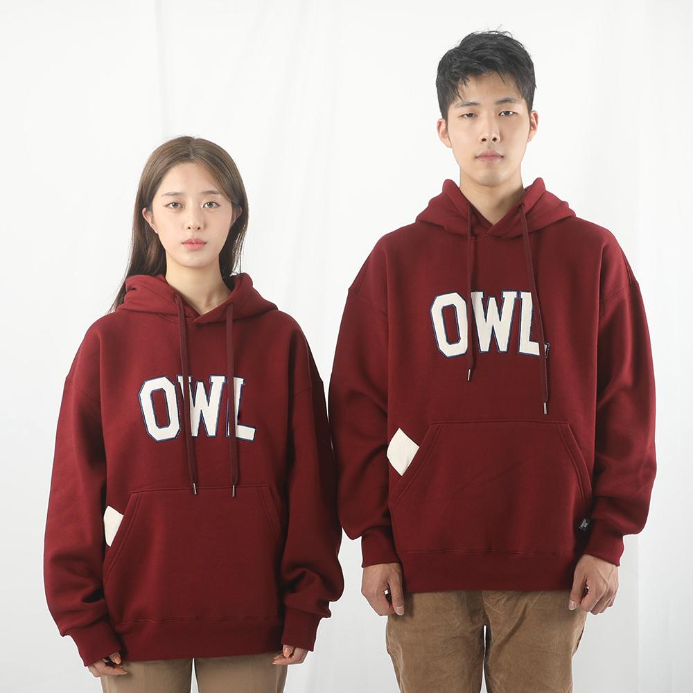 [입점특가]OWL 코듀로이 자수 기모 후디 / burgundy