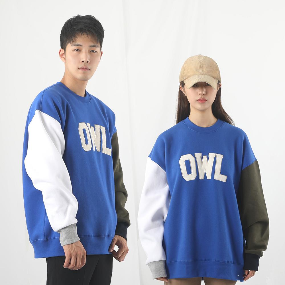[입점특가]OWL 배색 기모 MTM / 블루