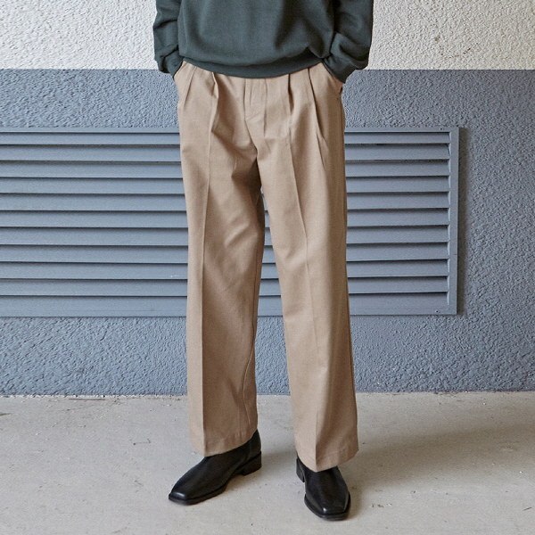 TUCK WIDE LONG COTTON PANTS_BEIGE