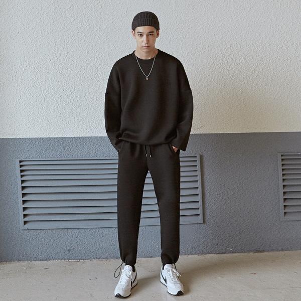 NEO TWINE LONG TEE+PANTS SET_BLACK
