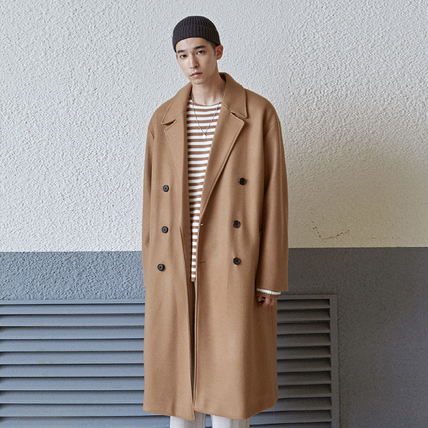 WOOL OVER LONG DOUBLE COAT_BEIGE