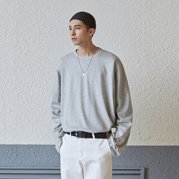 SOLID OVER LONG TEE_GRAY