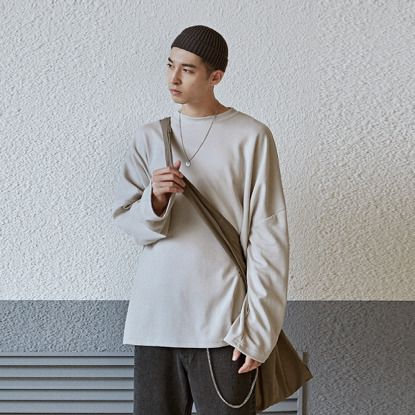 SOLID OVER LONG TEE_LIGHT BEIGE