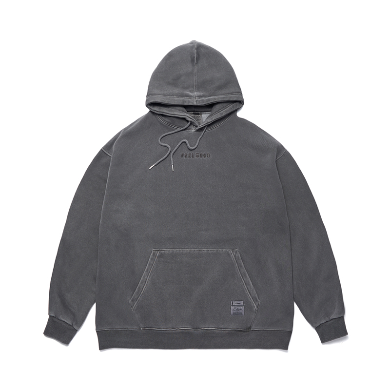 STIGMA SCRAPE PIGMENT OVERSIZED HEAVY SWEAT HOODIE DARK GREY