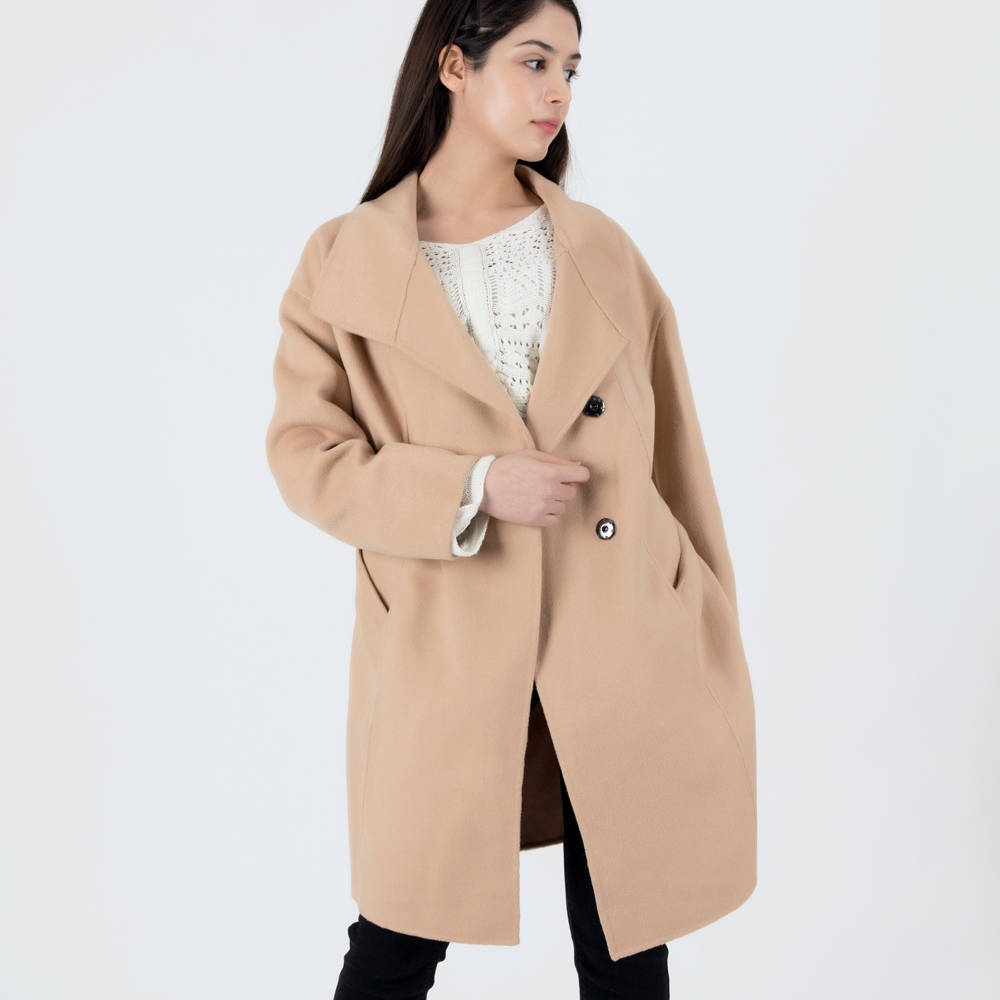 WOOL HANDMADE DOUBLE BELTED COAT (BEIGE)