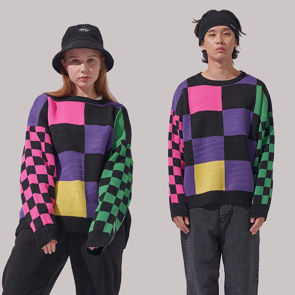 [1+1]올드 스쿨 체커보드 스웨터