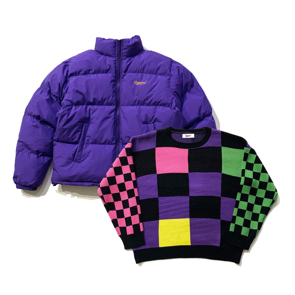 [1+1] 올드 스쿨 체커보드 스웨터+뉴트로 로고 숏 패딩 푸퍼