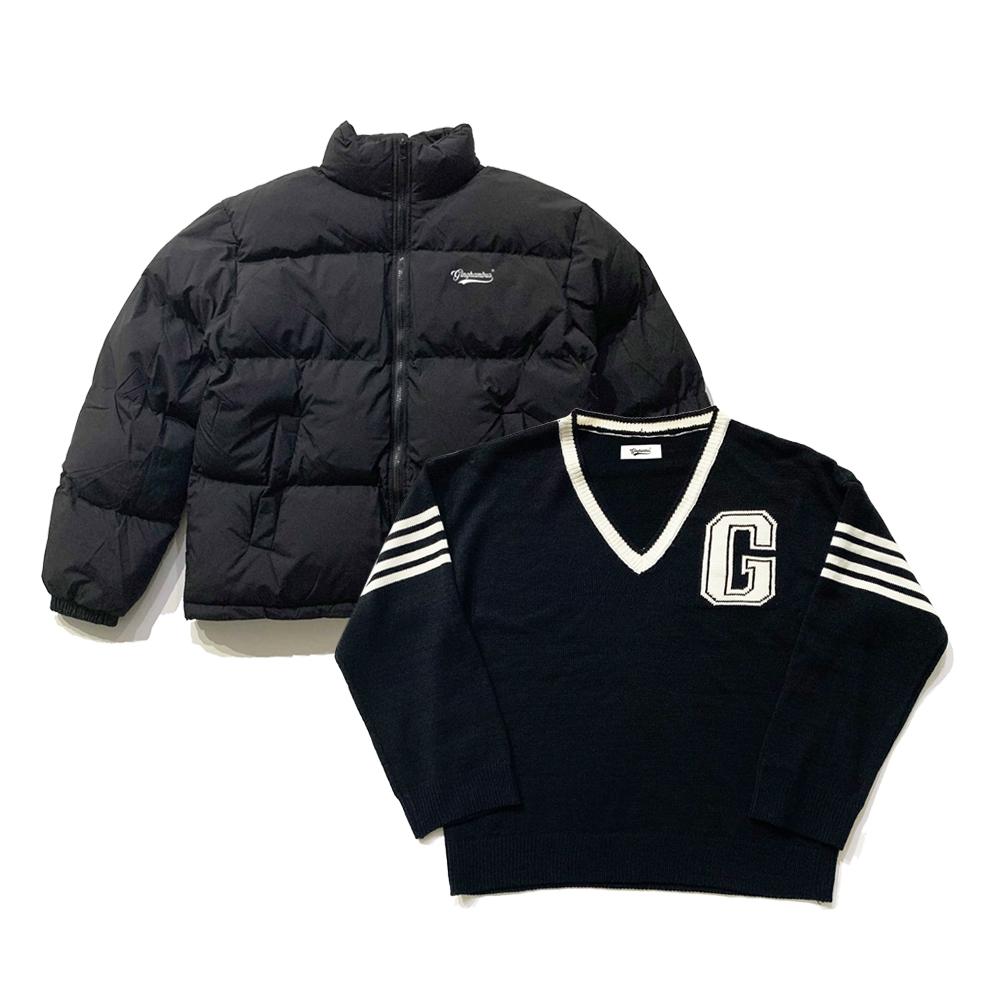 [1+1]뉴트로 로고 숏 패딩 푸퍼+G 로고 테니스 스웨터