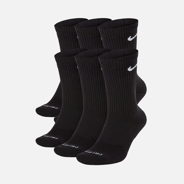 [국내배송]나이키 에브리데이 스우시 장목 양말 블랙 6팩