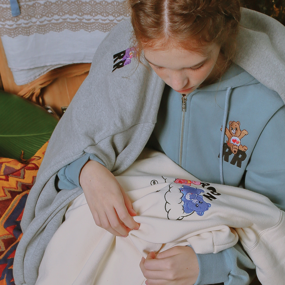 CARE BEARS X RONRON RR LOGO HOOD ZIP-UP DUSTYBLUE