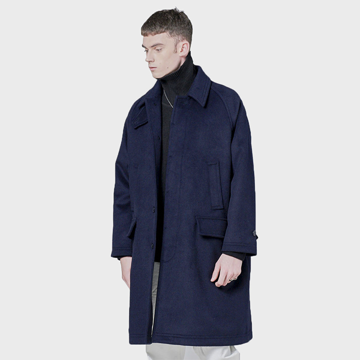 443# WOOL BALMACAAN COAT NAVY