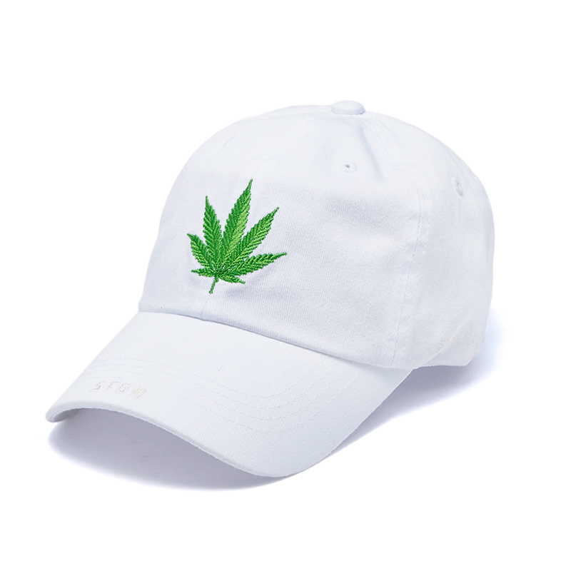 LEAF WASHED BASEBALL CAP WHITE