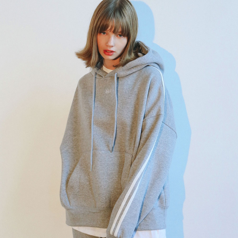 [UNISEX] 더블라인 오버핏 후드티_그레이