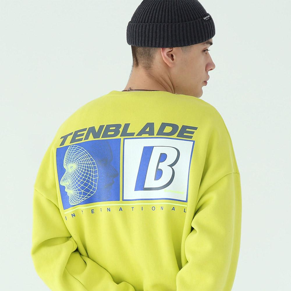 3D 페이스 그래픽 맨투맨 티셔츠-옐로우 그린