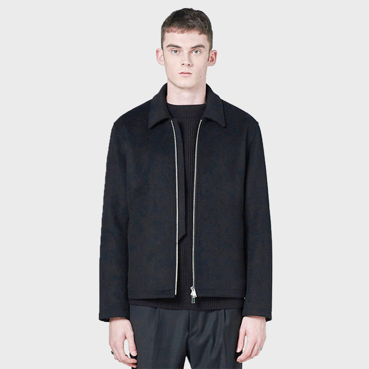 437# WOOL 2WAY ZIP JACKET BLACK