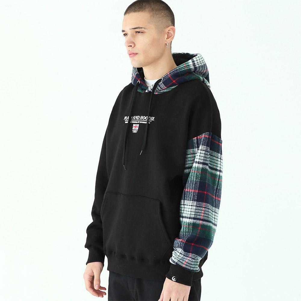 피어시 플래드 후드 티셔츠-블랙