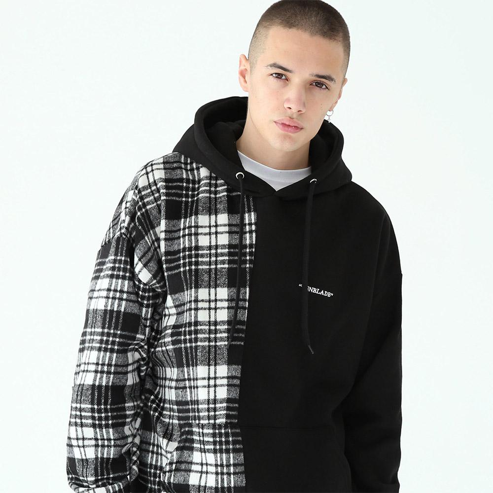[단독할인]세리프 로고 체크 후드 티셔츠-블랙