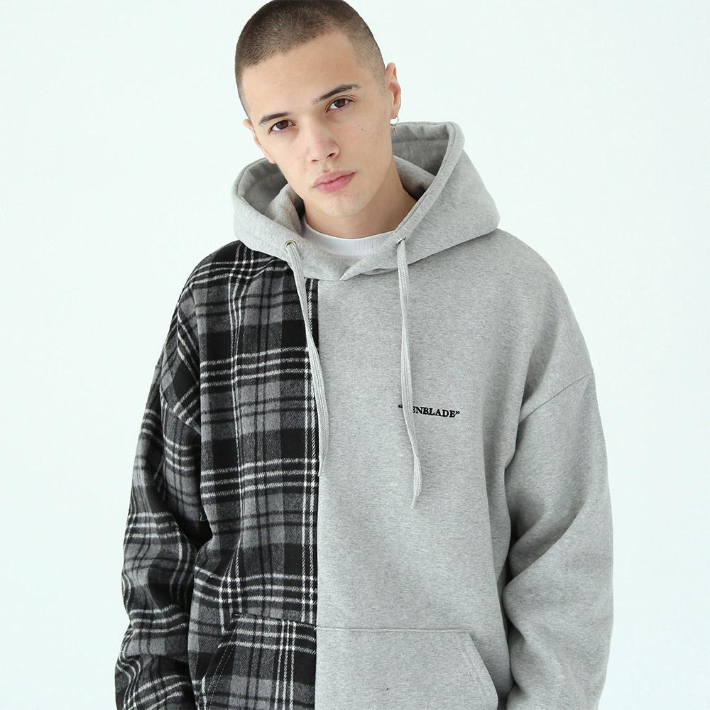 [단독할인]세리프 로고 체크 후드 티셔츠-그레이