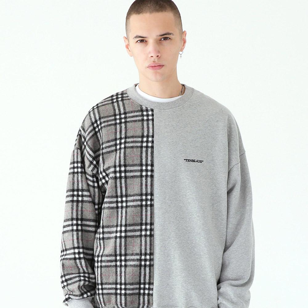 세리프 로고 체크 맨투맨 티셔츠-그레이