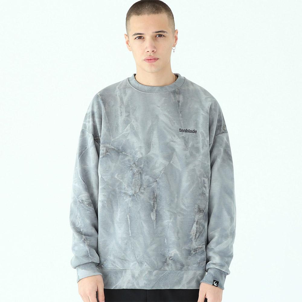[단독할인]물나염 배이직 로고 맨투맨 티셔츠-그레이