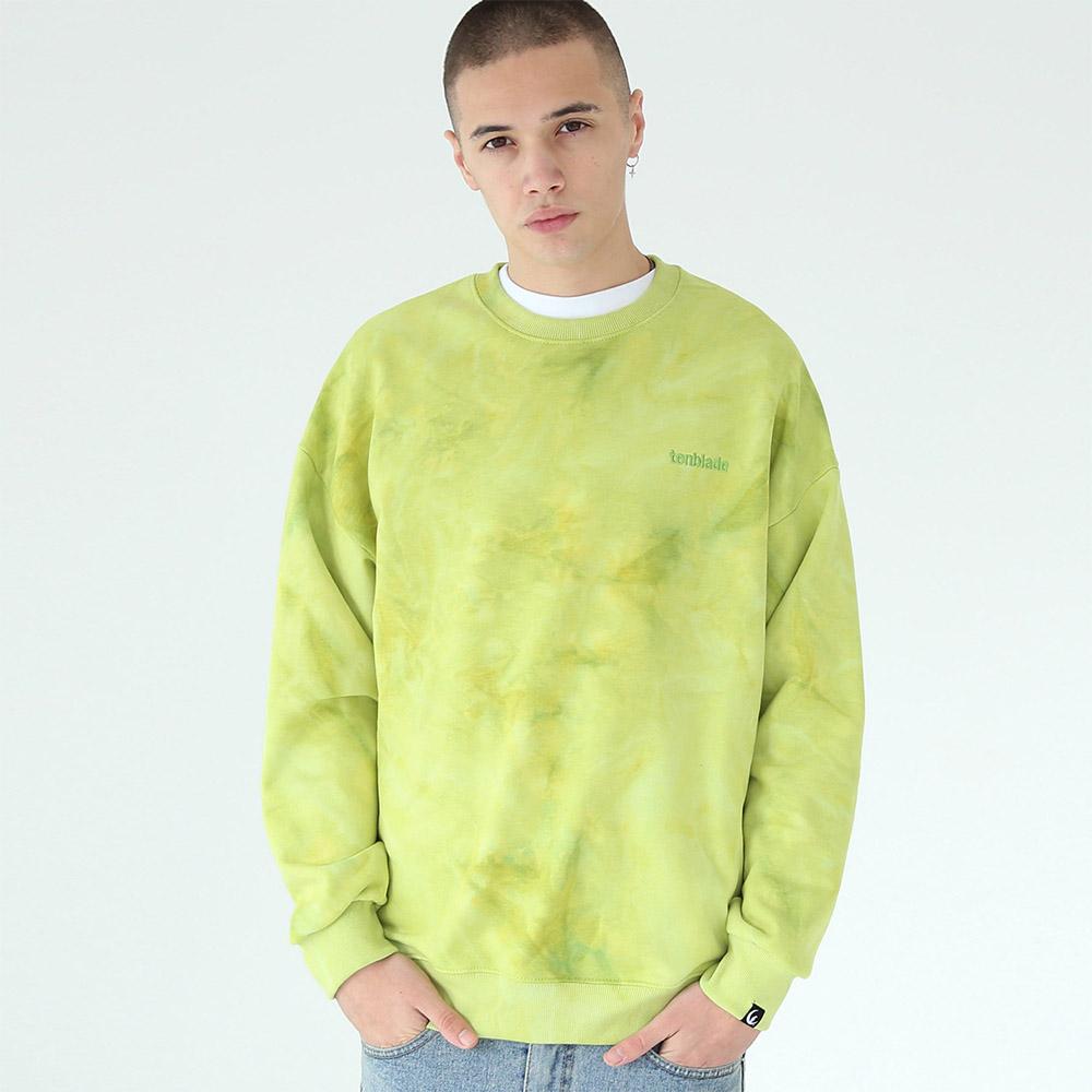 [단독할인]물나염 배이직 로고 맨투맨 티셔츠-옐로우 그린