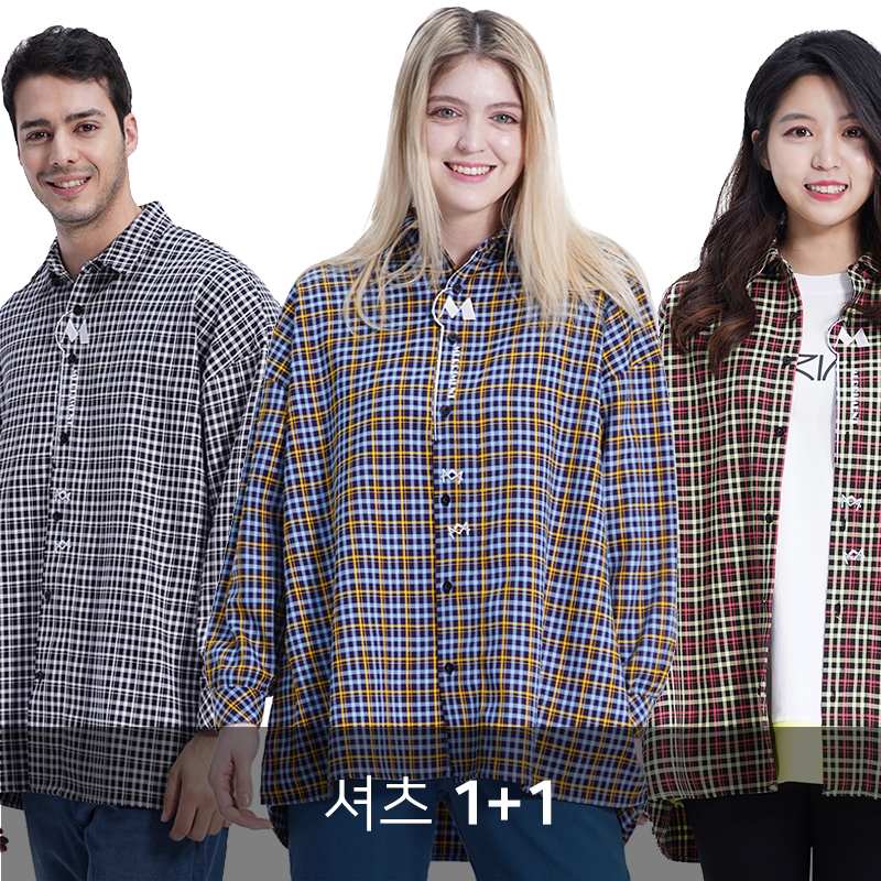 [1+1] (UNISEX) MMM Long Over Check Shirts (3colors)