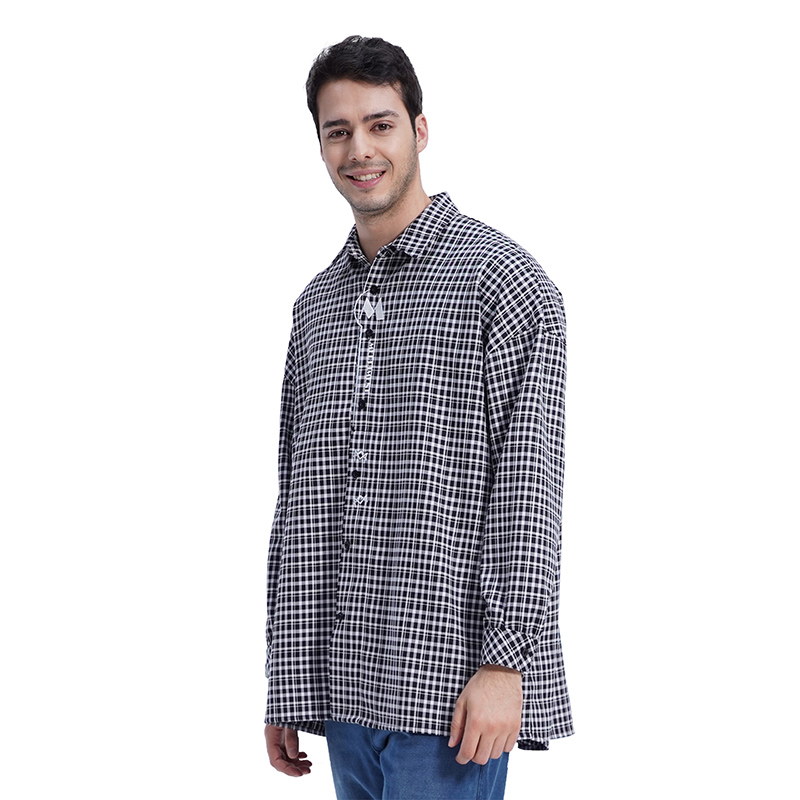 (UNISEX) MMM Long Over Check Shirts (BLACK)