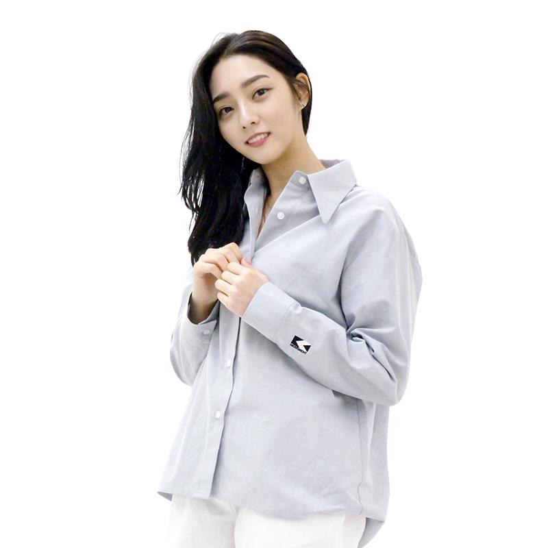SODE-M Oxford : Long-collar Shirt (GREY)
