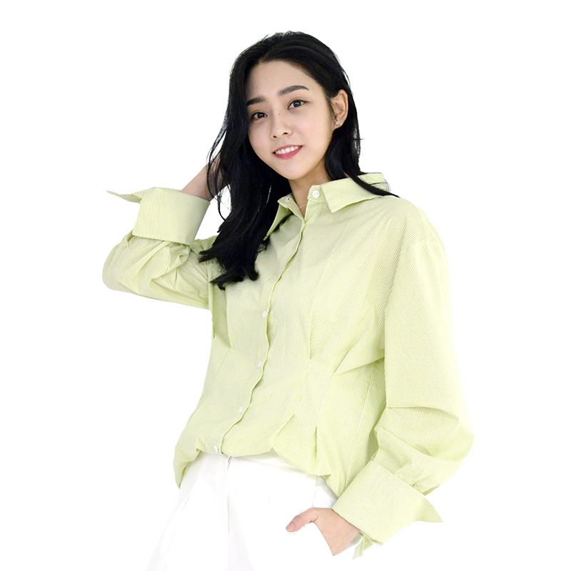 Lovely M Back Embroidery Stripe Shirt (L/GREEN)