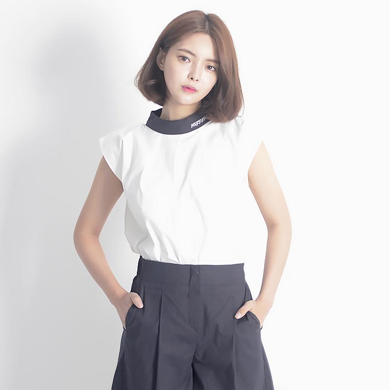 Linen Sleeveless Shirt (NAVY)